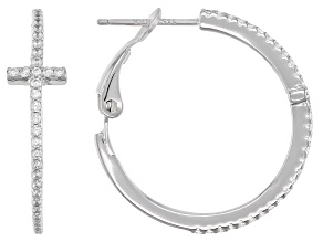 White Cubic Zirconia Rhodium Over Sterling Silver Cross Hoop Earrings 0.84ctw
