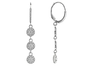 White Cubic Zirconia Rhodium Over Sterling Silver Earrings 1.32ctw (0.66ctw DEW)