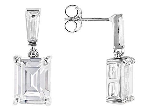 White Cubic Zirconia Rhodium Over Sterling Silver Earrings 9.77ctw