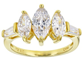 White Cubic Zirconia 18K Yellow Gold Over Sterling Silver Ring 3.42ctw