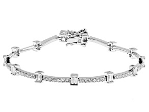 White Cubic Zirconia Rhodium Over Sterling Silver Tennis Bracelet 4.20ctw