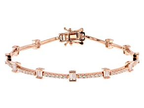 White Cubic Zirconia 18K Rose Gold Over Sterling Silver Tennis Bracelet 4.20ctw