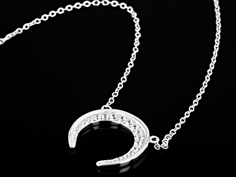 White Cubic Zirconia Rhodium Over Sterling Silver Moon Necklace 0.34ctw (0.21ctw DEW)