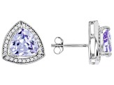 Lavender And White Cubic Zirconia Rhodium Over Sterling Silver Earrings 6.74ctw