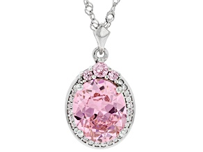 Pink And White Cubic Zirconia Rhodium Over Sterling Silver Pendant With Chain 8.93ctw