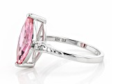 Pink And White Cubic Zirconia Rhodium Over Sterling Silver Ring 4.52ctw