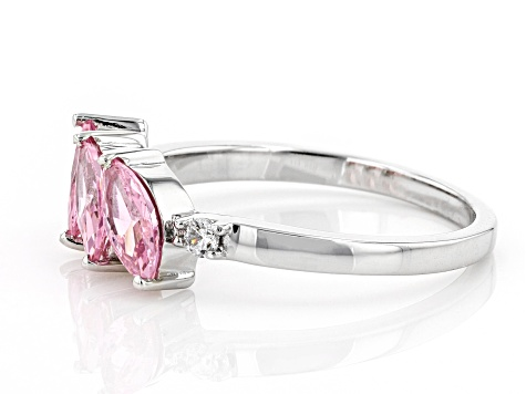 Pink And White Cubic Zirconia Rhodium Over Sterling Silver Ring 1.77ctw
