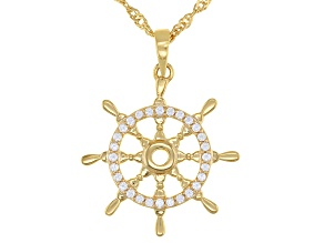 White Cubic Zirconia 18k Yellow Gold Over Sterling Silver Captain Wheel Pendant With Chain 0.14ctw