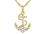 White Cubic Zirconia 18k Yellow Gold Over Sterling Silver Anchor Pendant With Chain