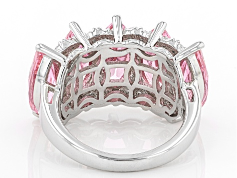 Pink And White Cubic Zirconia Rhodium Over Sterling Silver Ring 15.09ctw