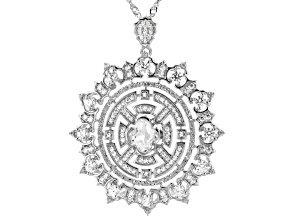 White Cubic Zirconia Rhodium Over Sterling Silver Pendant With Chain 4.43ctw