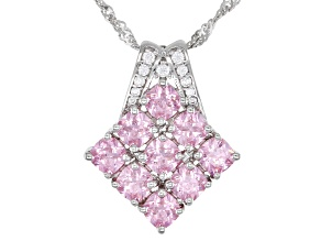 Pink And White Cubic Zirconia Rhodium Over Sterling Silver Pendant With Chain 4.58ctw