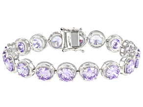 Lavender Cubic Zirconia Rhodium Over Sterling Silver Tennis Bracelet 61.45ctw