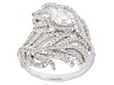 White Cubic Zirconia Rhodium Over Sterling Silver Leaf Ring 2.16ctw