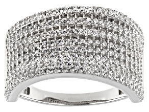 White Cubic Zirconia Rhodium Over Sterling Silver Ring 2.03ctw