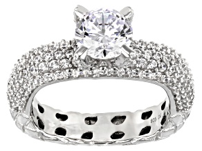 White Cubic Zirconia Rhodium Over Sterling Silver Ring 4.17ctw