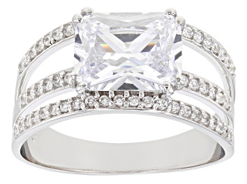 Picture of White Cubic Zirconia Rhodium Over Sterling Silver Ring 4.20ctw