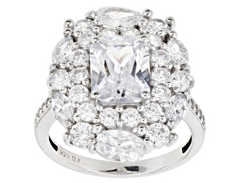 Picture of White Cubic Zirconia Rhodium Over Sterling Silver Ring 8.44ctw