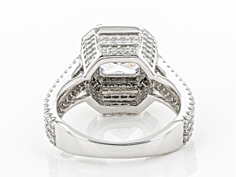 White Cubic Zirconia Rhodium Over Sterling Silver Ring 5.23ctw