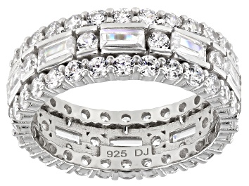 Picture of White Cubic Zirconia Rhodium Over Sterling Silver Eternity Band Ring 6.10ctw