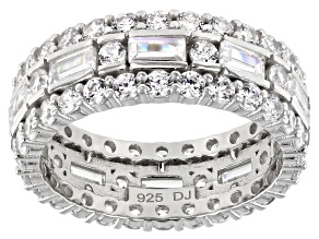 White Cubic Zirconia Rhodium Over Sterling Silver Eternity Band Ring 6.10ctw