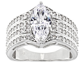 White Cubic Zirconia Rhodium Over Sterling Silver Ring 3.76ctw