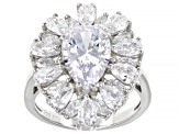White Cubic Zirconia Rhodium Over Sterling Silver Ring 9.41ctw