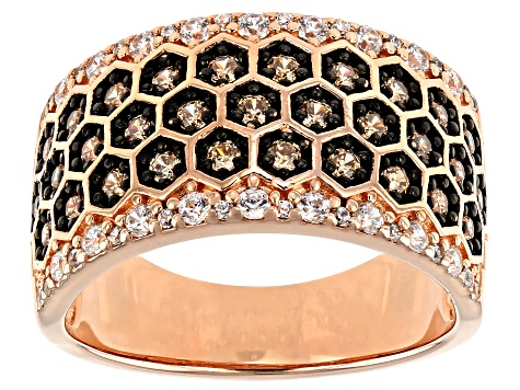Champagne And White Cubic Zirconia 18K Rose Gold  Over Sterling Silver Ring 1.33ctw