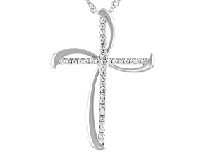 White Cubic Zirconia Rhodium Over Sterling Silver Cross Pendant With Chain 0.45ctw