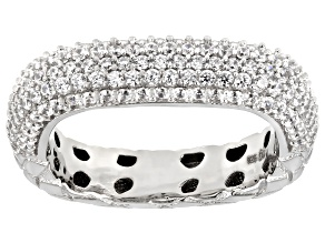 White Cubic Zirconia Rhodium Over Sterling Silver Band Ring 1.84ctw