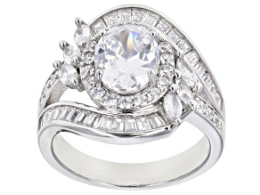 White Cubic Zirconia Rhodium Over Sterling Silver Ring 4.95ctw