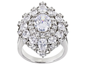 White Cubic Zirconia Rhodium Over Sterling Silver Ring 8.25ctw