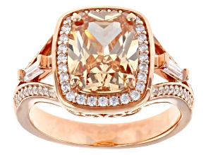 Champagne And White Cubic Zirconia 18K Rose Gold Over Sterling Silver Ring 5.04ctw