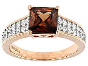 Mocha And White Cubic Zirconia 18K Rose Gold Over Sterling Silver Ring 3.44ctw (2.36ctw DEW)