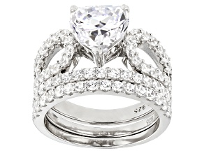 White Cubic Zirconia Rhodium Over Sterling Silver Ring With 2 Bands 7.55ctw (3.61ctw DEW)