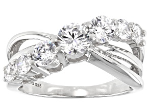 White Cubic Zirconia Rhodium Over Sterling Silver Ring 2.34ctw