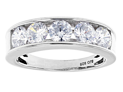 White Cubic Zirconia Rhodium Over Sterling Silver Ring 2.90ctw