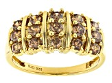 Mocha Cubic Zirconia 18K Yellow Gold Over Sterling Silver Ring 1.55ctw