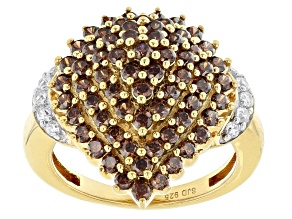Mocha And White Cubic Zirconia 18K Yellow Gold Over Sterling Silver Ring 3.23ctw