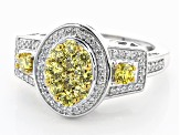 Yellow And White Cubic Zirconia Rhodium Over Sterling Silver Ring 1.80ctw