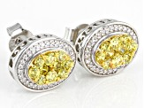 Yellow And White Cubic Zirconia Rhodium Over Sterling Silver Earrings 2.03ctw