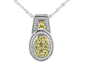 Yellow And White Cubic Zirconia Rhodium Over Silver Pendant With Chain 1.25ctw
