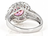 Pink and White Cubic Zirconia Rhodium Over Sterling Silver Ring 5.34ctw