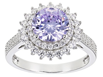 Picture of Lavender And White Cubic Zirconia Rhodium Over Sterling Silver Ring 4.74ctw