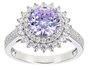 Lavender And White Cubic Zirconia Rhodium Over Sterling Silver Ring 4.74ctw
