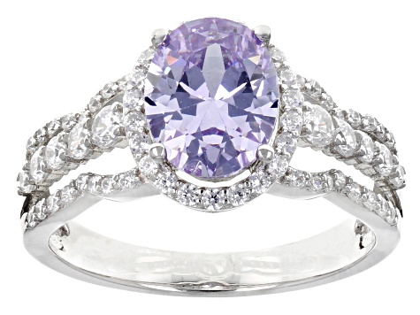Lavender And White Cubic Zirconia Rhodium Over Sterling Silver Ring  4.28ctw