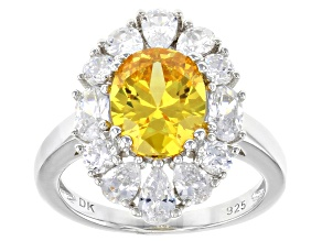 Yellow And White Cubic Zirconia Rhodium Over Sterling Silver Ring 7.33ctw