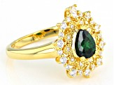Green And White Cubic Zirconia 18K Yellow Gold Over Sterling Silver Ring 1.83ctw