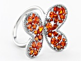 Orange Cubic Zirconia Rhodium Over Sterling Silver Butterfly Ring 3.87ctw
