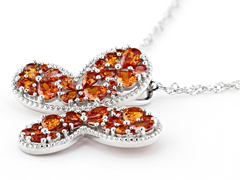 Orange Cubic Zirconia Rhodium Over Sterling Silver Butterfly Pendant With Chain 3.87ctw